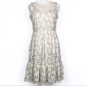 Luxology Cream Floral Embroidered Overlay Dress